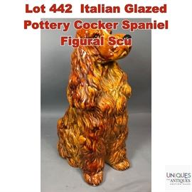 Lot 442 Italian Glazed Pottery Cocker Spaniel Figural Scu