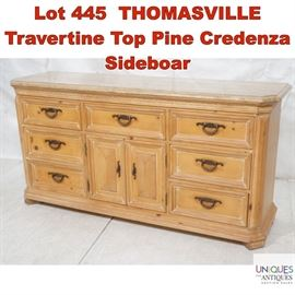 Lot 445 THOMASVILLE Travertine Top Pine Credenza Sideboar