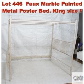 Lot 446 Faux Marble Painted Metal Poster Bed. King size f