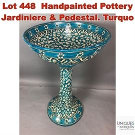 Lot 448 Handpainted Pottery Jardiniere  Pedestal. Turquo