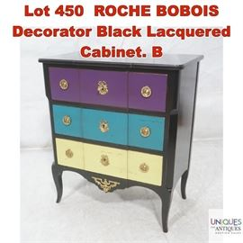 Lot 450 ROCHE BOBOIS Decorator Black Lacquered Cabinet. B