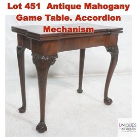 Lot 451 Antique Mahogany Game Table. Accordion Mechanism