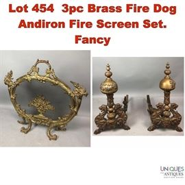 Lot 454 3pc Brass Fire Dog Andiron Fire Screen Set. Fancy