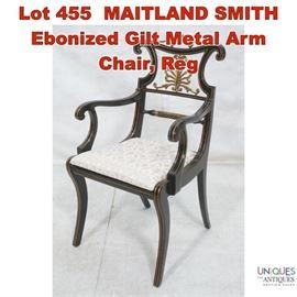 Lot 455 MAITLAND SMITH Ebonized Gilt Metal Arm Chair, Reg