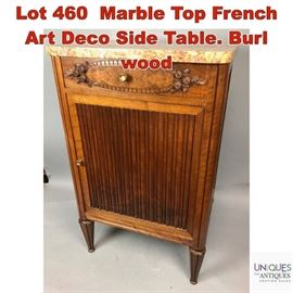Lot 460 Marble Top French Art Deco Side Table. Burl wood