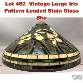 Lot 462 Vintage Large Iris Pattern Leaded Stain Glass Sha
