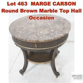 Lot 463 MARGE CARSON Round Brown Marble Top Hall Occasion