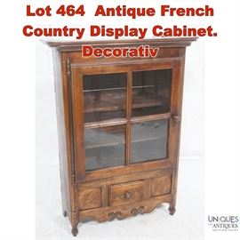 Lot 464 Antique French Country Display Cabinet. Decorativ