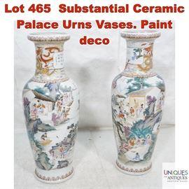 Lot 465 Substantial Ceramic Palace Urns Vases. Paint deco