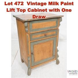 Lot 472 Vintage Milk Paint Lift Top Cabinet with One Draw