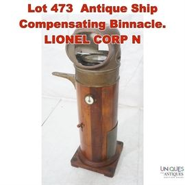 Lot 473 Antique Ship Compensating Binnacle. LIONEL CORP N