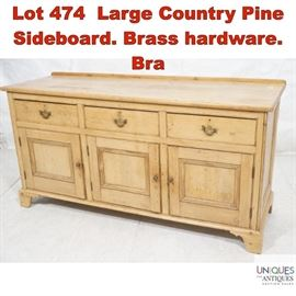 Lot 474 Large Country Pine Sideboard. Brass hardware. Bra
