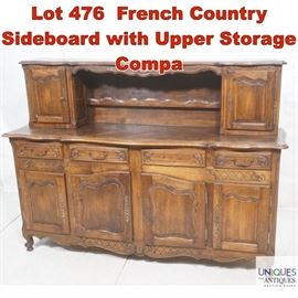Lot 476 French Country Sideboard with Upper Storage Compa