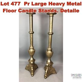 Lot 477 Pr Large Heavy Metal Floor Candle Stands. Detaile