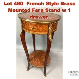 Lot 480 French Style Brass Mounted Fern Stand w 1 drawer.