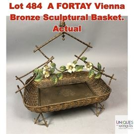 Lot 484 A FORTAY Vienna Bronze Sculptural Basket. Actual