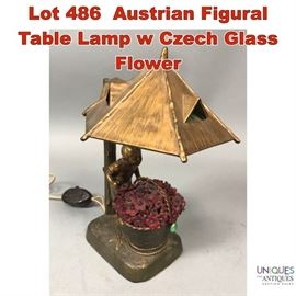 Lot 486 Austrian Figural Table Lamp w Czech Glass Flower