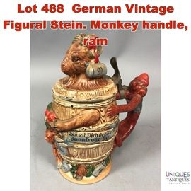 Lot 488 German Vintage Figural Stein. Monkey handle, ram