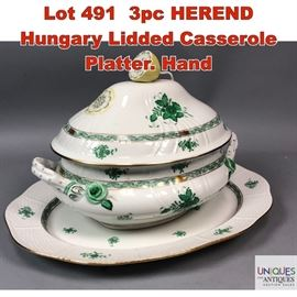 Lot 491 3pc HEREND Hungary Lidded Casserole Platter. Hand