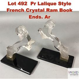Lot 492 Pr Lalique Style French Crystal Ram Book Ends. Ar