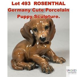 Lot 493 ROSENTHAL Germany Cute Porcelain Puppy Sculpture.