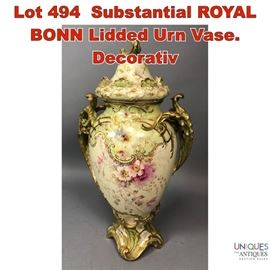 Lot 494 Substantial ROYAL BONN Lidded Urn Vase. Decorativ