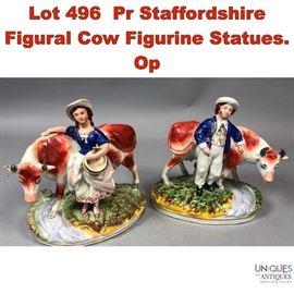 Lot 496 Pr Staffordshire Figural Cow Figurine Statues. Op