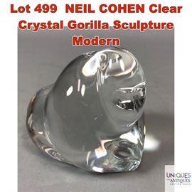 Lot 499 NEIL COHEN Clear Crystal Gorilla Sculpture Modern