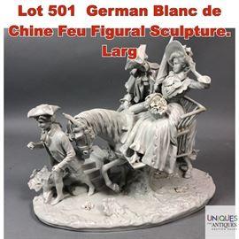 Lot 501 German Blanc de Chine Feu Figural Sculpture. Larg