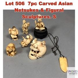 Lot 506 7pc Carved Asian Netsukes  Figural Sculptures. S