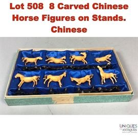 Lot 508 8 Carved Chinese Horse Figures on Stands. Chinese