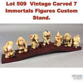 Lot 509 Vintage Carved 7 Immortals Figures Custom Stand.