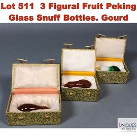 Lot 511 3 Figural Fruit Peking Glass Snuff Bottles. Gourd