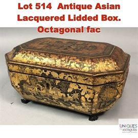 Lot 514 Antique Asian Lacquered Lidded Box. Octagonal fac