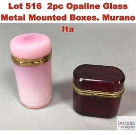 Lot 516 2pc Opaline Glass Metal Mounted Boxes. Murano Ita