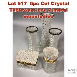 Lot 517 5pc Cut Crystal Tableware Lot. 2 metal mounted bo