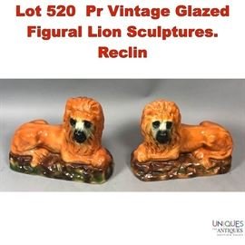 Lot 520 Pr Vintage Glazed Figural Lion Sculptures. Reclin