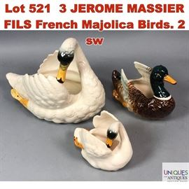Lot 521 3 JEROME MASSIER FILS French Majolica Birds. 2 sw