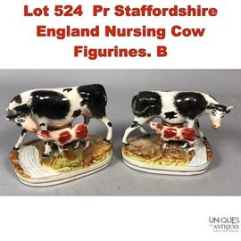 Lot 524 Pr Staffordshire England Nursing Cow Figurines. B