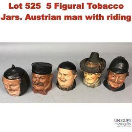 Lot 525 5 Figural Tobacco Jars. Austrian man with riding