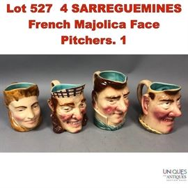 Lot 527 4 SARREGUEMINES French Majolica Face Pitchers. 1