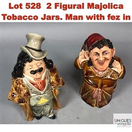 Lot 528 2 Figural Majolica Tobacco Jars. Man with fez in