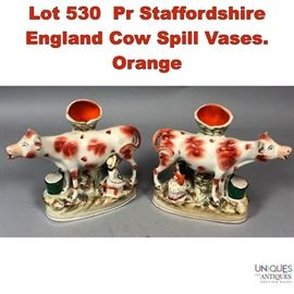 Lot 530 Pr Staffordshire England Cow Spill Vases. Orange