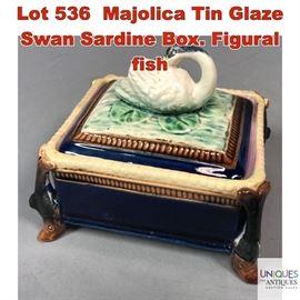 Lot 536 Majolica Tin Glaze Swan Sardine Box. Figural fish
