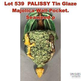 Lot 539 PALISSY Tin Glaze Majolica Wall Pocket. Seaweed p