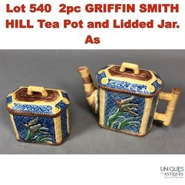 Lot 540 2pc GRIFFIN SMITH HILL Tea Pot and Lidded Jar. As