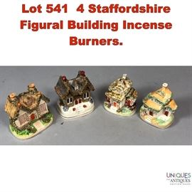Lot 541 4 Staffordshire Figural Building Incense Burners.