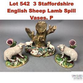 Lot 542 3 Staffordshire English Sheep Lamb Spill Vases. P
