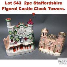 Lot 543 2pc Staffordshire Figural Castle Clock Towers. T