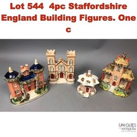 Lot 544 4pc Staffordshire England Building Figures. One c